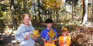 With their hike completed, 11-year-0ld Moriah Conley, left, her 9-year-old brother, Nathan, and her 6-year-old sister, Rebecca, show off some of the many varieties of leaves you can find at Ricketts Glen State Park, including hickory and maple.                                  Mary Therese Biebel | Times Leader
