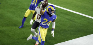 Los Angeles Rams safety Taylor Rapp celebrates intercepting a pass in the end zone during the second half of an NFL game against the Chicago Bears on Monday in Inglewood, Calif.                                  AP photo