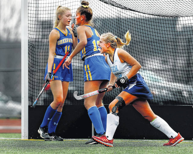 <p>Wyoming Seminary's Maddie Olshemski reacts to the second goal of the PIAA Class A Field Hockey State Championship Game in Whitehall. The goal was scored by Ella Babacci during the third quarter of play on Saturday.</p>                                  <p>Fred Adams | For Times Leader</p>