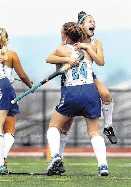 <p>Wyoming Seminary's Isabella Pisano (24) and Abby Santo react to winning the Class A PIAA field hockey championship in White Hall on Saturday. Seminary defeated Greenwood 3-0 in the championship game.</p>                                  <p>Fred Adams | For Times Leader</p>