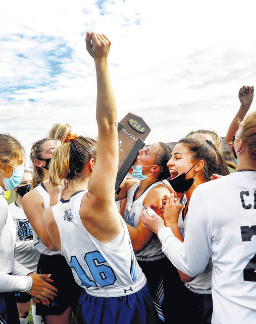 <p>Wyoming Seminary player celebrate after winning the PIAA Class A field hockey championship on Saturday in White Hall. Seminary defeated Greenwood 3-0 in the championship game.</p>                                  <p>Fred Adams | For Times Leader</p>