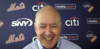 This photo from a Zoom press conference shows New York Mets President Sandy Alderson. Alderson said Monday that the team is no longer looking for a president of baseball operations.                                  AP photo