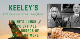This ad posted to Facebook by Keeley's Alehouse & Grille, depicting Gov. Tom Wolf and Dr. Rachel Levine in fascist uniforms, has come under fire on social media.                                  Via Facebook