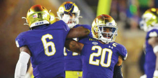 Notre Dame is looking to solidify its spot in the College Football Playoff field with a win over a ranked North Carolina team.                                  Matt Cashore | AP file photo, pool