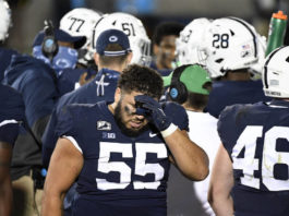 Senior defensive tackle Antonio Shelton (55) and the Nittany Lions are still looking to stop a season-long freefall.                                  AP photo