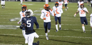 Wide receiver Jahan Dotson and Penn State left Illinois in the dust on Saturday as Dotson scored two long touchdowns to close out the season with four straight wins.                                  Barry Reeger | AP photo