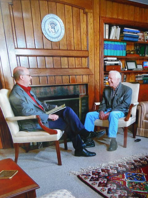 <p>Laurence L. Cook, at left, has maintained a friendship with President Jimmy Carter and arranged for the former President to visit the Wyoming Valley and speak at the Wyoming Monument in 2013. </p>