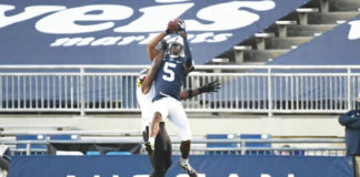 Penn State wide receiver Jahan Dotson announced Thursday evening he would be returning to the Nittany Lions for the 2021 season.                                  Barry Reeger | AP photo