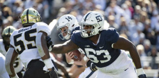 Penn State's Rasheed Walker (53) announced Tuesday he was returning to the Nittany Lions in 2021 for his third season as starting left tackle.                                  Barry Reeger | AP file photo