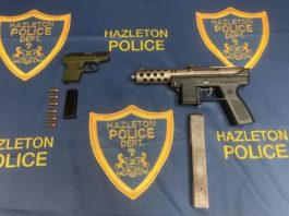 Hazleton police seized two firearms found during a traffic stop earlier this month.