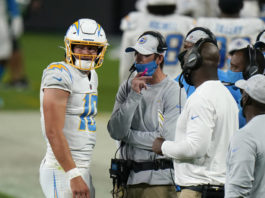 Former Chargers offensive coordinator Shane Steichen, center, is set to take over the same role in Philadelphia on new coach Nick Sirianni's staff.                                  Jeff Bottari | AP file photo