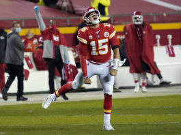 Quarterback Patrick Mahomes will look to lead the Chiefs to back-to-back Super Bowls when they take on the Buccaneers on Feb. 7.                                  Jeff Roberson | AP photo