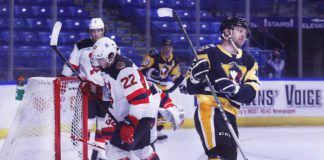 In the team's first game since last March, Jordy Bellerive opened the scoring for the Penguins in 2021 on Monday night at Mohegan Sun Arena.                                  Fred Adams   For Times Leader