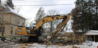 A hole in the ground was all that remained Thursday of a blighted property at 101-103 Westminster St. in Wilkes-Barre.                                   Jerry Lynott   Times Leader