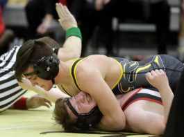 Lake-Lehman's Nick Zaboski, top, will go for his third straight District 2 title on Friday. He is the top seed at 160 pounds.                                  Times Leader file photo