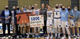 Berwick senior Katie Starr celebrates with her teammates Saturday after collecting her 1,000th career rebound in a game against Wyoming Valley West. Starr scored her 1,000th career point earlier in the week.                                  Submitted photo