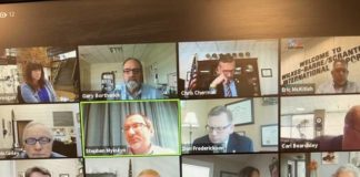 This is a screenshot of Thursday's ZOOM conference of the Bi-County Airport Board, during which Floyd P. Bowen, a retired Pennsylvania State Trooper, was unanimously appointed as the new Public Safety Director at the Wilkes-Barre/Scranton International Airport.                                  Screenshot