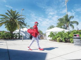 Phillies outfielder Bryce Harper walks to batting practice during spring training on Thursday in Clearwater, Fla.                                  Jose F. Moreno | AP photo, The Philadelphia Inquirer