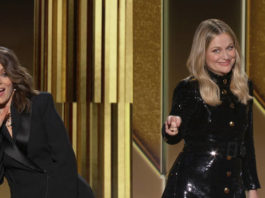 In this video grab issued Sunday by NBC, hosts Tina Fey, left, from New York, and Amy Poehler, from Beverly Hills, Calif., speak at the Golden Globe Awards.                                  NBC via AP
