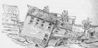A sketch of the Wyoming Post Office as it collapsed into a sink hole on March 1, 1897. Published Wilkes-Barre Times March 2, 1897.