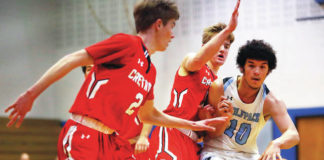 Mike Zaleski (left), Jacob Zaleski (center) and Crestwood enter the postseason as the top seed in the Class 5A bracket. Cole Walker (right) and Wilkes-Barre Area are seeded third in Class 6A.                                  Times Leader file photo