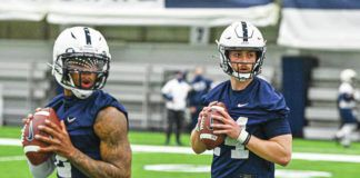 Ta'Quan Roberson, left, and returning starter Sean Clifford lead a Penn State quarterback room that has been hit by transfers this offseason.                                  Mark Selders   Penn State Athletics
