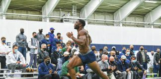Penn State defensive end Jayson Oweh ran a 4.36 in the 40 at the team's pro day on Thursday in State College.                                  Mark Selders   Penn State Athletics