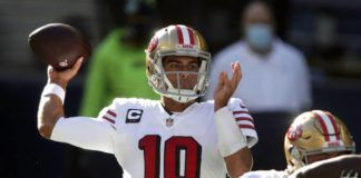 Quarterback Jimmy Garoppolo's long-term future is up in the air after the 49ers traded up for the No. 3 pick in next month's draft on Friday.                                  Scott Eklund | AP file photo