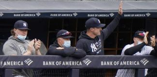 New York Yankees outfielder Jay Bruce, third from left, waves from the dugout as injured first baseman Luke Voit, left, applauds, while outfielder Brett Gardner rests on the railing as the Yankees announced Bruce's retirement from baseball during the seventh inning of the Yankees loss to the Tampa Bay Rays in a game Sunday at Yankee Stadium in New York.                                  AP photo