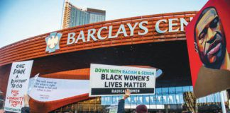 Peaceful protesters rally outside Barclays Center, home of the Brooklyn Nets, on Tuesday following the conviction of former Minneapolis police officer Derek Chauvin in the death of George Floyd.                                  Brittainy Newman | AP photo