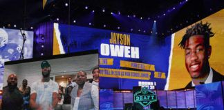 Penn State's Jayson Oweh heard his name called on opening night of the NFL draft, going 31st overall to the Baltimore Ravens.                                  Tony Dejak   AP photo