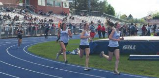 Kaitlyn Hodakowski leads Scarlett Hobson-Tomscik and Lindsey Yencha in the 1600-meter run Thursday at Pittston Area. They changed order, with Yencha winning, but held on to the top three spots in the event to help the Mountaineers to the division title.                                  Tom Robinson | For Times Leader