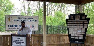 Julian Campenni, Luzerne County Sports Hall of Fame Class of 2020, speaks at the Class of 2020 induction ceremony on Sunday.