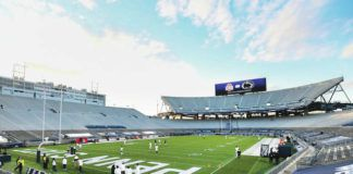 Penn State players warm up in Beaver Stadium during an NCAA game against Ohio State in State College on Saturday, Oct. 31, 2020.                                  AP file photo