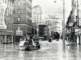 Downtown Wilkes-Barre is seen in June 1972 as the Agnes floodwaters swamped city streets. This view is looking west on East Market Street near Pennsylvania Avenue, approximately in front of where the Times Leader offices are located today.                                  Times Leader file photo