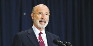 Gov. Wolf is seen in this file photo. A Republican rewrite of Pennsylvania election law that would mandate voter IDs, alter registration and ballot counting deadlines and give conservatives auditing procedures they have clamored for passed the state House on Tuesday despite the Democratic governor's veto threat.                                  File photo