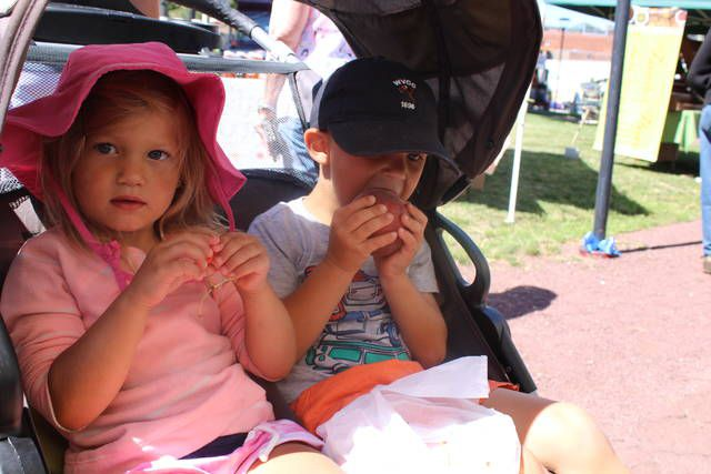 From the comfort of their stroller Audrey Grega, 3, left, of Shavertown and her brother Grayson, 4, enjoyed the first fruits of the season from the selection of produce on sale at the opening Thursday of the Wilkes-Barre Farmers Market.                                  Jerry Lynott | Times Leader