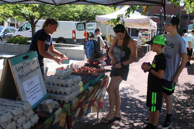<p>Raelyn Snyder, left, of Hoagland Farms in Elysburg makes change for a customer at her stand Thursday at the opening of the Wilkes-Barre Farmers Market on Public Square.</p>                                  <p>Jerry Lynott | Times Leader</p>