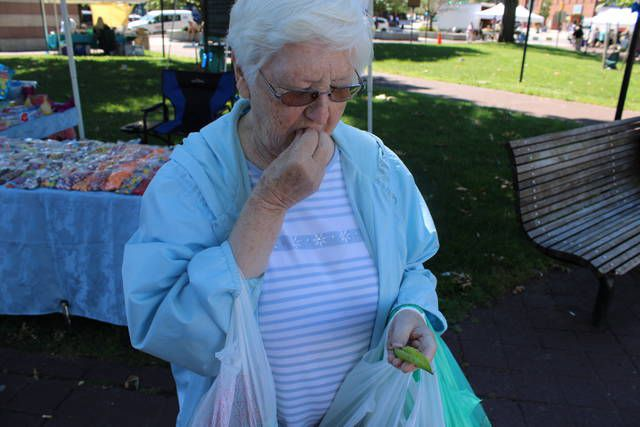<p>Sweet peas fresh from the pod and for sale at the Wilkes-Barre Farmers Market is how Rose Jagodzinski of Wilkes-Barre Township enjoys them.</p>                                  <p>Jerry Lynott | Times Leader</p>