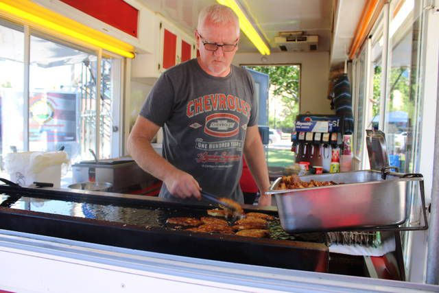 <p>Food vendors returned to the Wilkes-Barre Farmers Market on Public Square after a year hiatus imposed for safety's sake during the COVID-19 pandemic. Mike Jagodzinski worked the griddle at Yogi's Potato Pancakes Thursday morning at the market's opening.</p>                                  <p>Jerry Lynott | Times Leader</p>