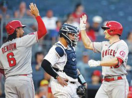 The Yankees scored seven runs in the first inning Wednesday against the Angels but still lost 11-8, the latest disappointment in a tough season that has New York in fourth place in the AL East at 41-39.                                  Adam Hunger | AP photo