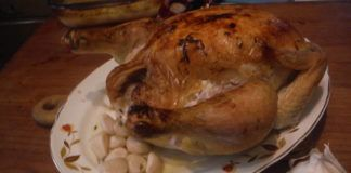 More or less following a recipe from Martha Stewart, I roasted a whole bird in the oven, with 40 cloves of garlic (and a little white wine) in the pan. Only a few of the cloves are shown on the platter, but all 40 were eventually consumed.                                  Mary Therese Biebel | Times Leader