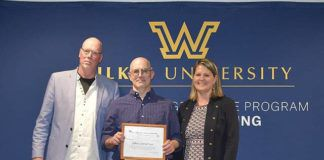 Shown from left are Etruscan Press Executive Director and Wilkes faculty member Phil Brady; 2021 Etruscan Prize recipient John Cornelius of Nescopeck, Pa.; and Etruscan Press Production Editor Pamela Turchin                                  Kirsten Peters