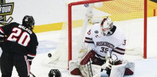 Goaltender Filip Lindberg, who helped lead UMass to a national championship in April, was signed by Pittsburgh on Wednesday and could end up playing for Wilkes-Barre/Scranton.                                  Keith Srakocic   AP file photo