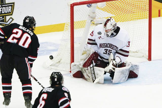 Goaltender Filip Lindberg, who helped lead UMass to a national championship in April, was signed by Pittsburgh on Wednesday and could end up playing for Wilkes-Barre/Scranton.                                  Keith Srakocic | AP file photo