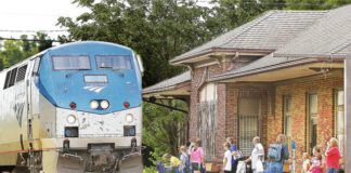 Passengers watch an Amtrak train roll into the Alton, Ill. station in this file photo. Bringing rail service back to NEPA has been a long-haul pull.                                  John Badman | The Telegraph