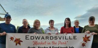 Pictured are the Edwardville Hometown Committee. From left: Robert Casey, Glenn Packer, Jacqueline Moran, Maryalice James, Stacey Casey, Lois Packer, Marilyn Mazeika.                                  Submitted photo