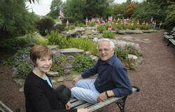 In this Times Leader file photo, Kitch Loftus Mussari and her late husband, Dr. Tony Mussari of Dallas, are shown in their Freedom Water Garden memorial to Flight 93 victims of Sept 11.                                  Times Leader file photo
