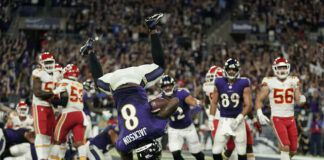 Baltimore Ravens quarterback Lamar Jackson scores a touchdown in the second half of an NFL game against the Kansas City Chiefs on Sunday in Baltimore.                                  AP photo