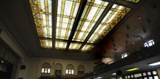 Stained glass is seen in the windows and skylight of the Meyers High School auditorium.                                  Times Leader file photo